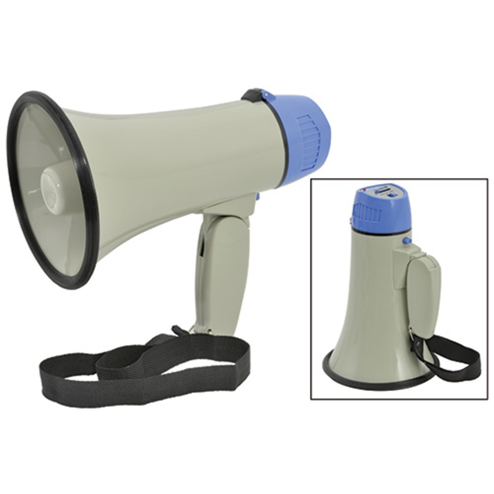 10 Watt portable handheld megaphone with folding handle & siren